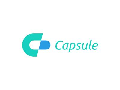 Capsule medical monogram logo initial pharmacy capsule