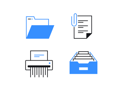Office icons vector archive file document paper clip attachment folder icons office icons office
