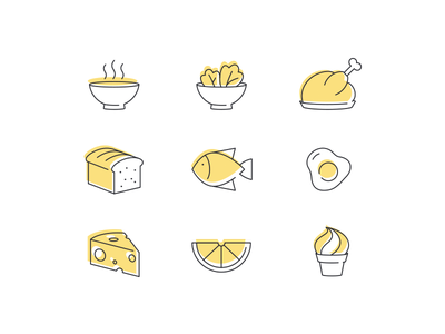 Food Icons cheese meat fish eggs soupgraphix salad soup bread lunch food icon icons