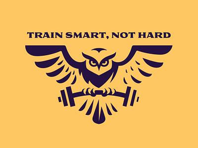 Train Smart, Not Hard fitness gym logotype logodesign logo bird owl