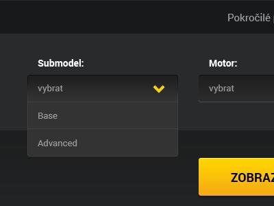 Dark Select Box clean gradient admin user interface black dark yellow grey three colors