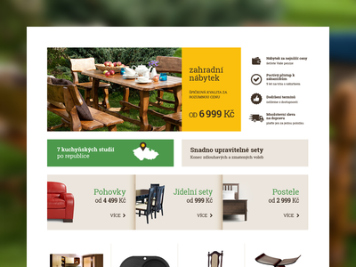 WIP e-commerce with furniture three colors brown yellow green clean usability performance effective mony-makin