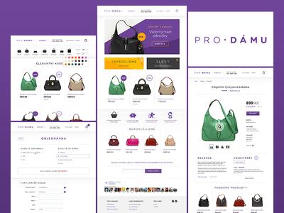 E-shop with hand bags - full clean eshop purple shop white handbag handbags categories product ecommerce web design webdesign
