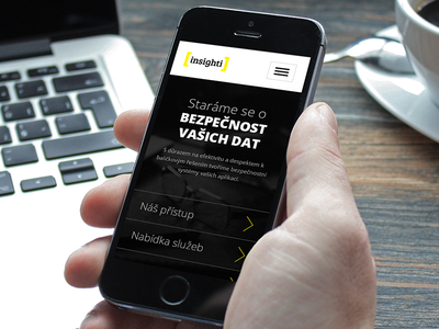 Insighti - prevention, detection and reaction clean presentation dark black yellow web design security testing responsive background photo