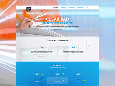 Clear Pad museo onepage page landing colors three minimalistic typography light clean orange blue