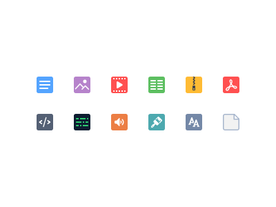 Distinctive icon pack for a file storage strong colors generic file 24px icon pack font psd audio code html pdf zip tables video image text
