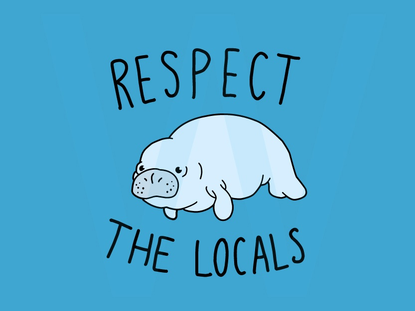 Respect The Local - Manatee mermaid manatee character cartoon logo illustration vector sticker line drawing hand drawing drawing design shirt print line art