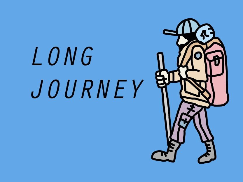 It's a long Journey backpacking backpacker hiking mountain adventure character cartoon logo illustration vector sticker line drawing hand drawing drawing design shirt print line art