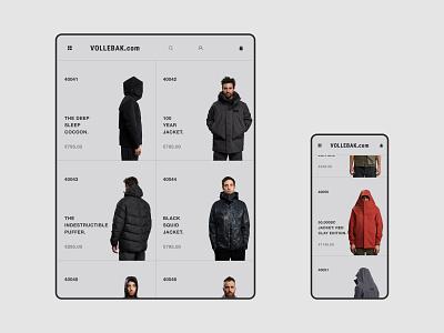 Vollebak — design concept Catalog page design minimal clean interface tablet mobile web uiux ux ui dribbble behance