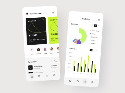 Atom | Mobile Banking cards design cards card banking app mobile banking dashboard analytics finances banking account fintech app saas product balance credit card visual identity money transfer spendings banking card