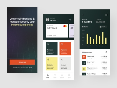Mobile banking app fintech banking card bank spendings money transfer visual identity credit card balance saas product fintech app banking account finances statistics analytics dashboard mobile banking banking app card cards cards design