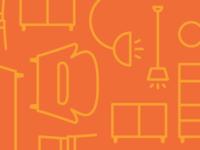 Whimsical Orange Furniture Pattern