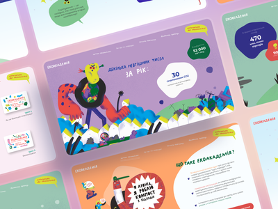 Eco Academy by Qream animation branding website ui design ux research illustration web ux ui design