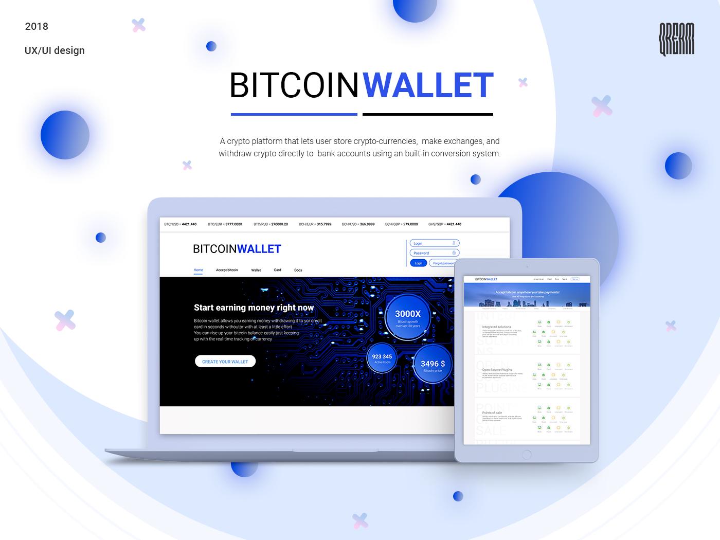Online bitcoin wallet with exchange