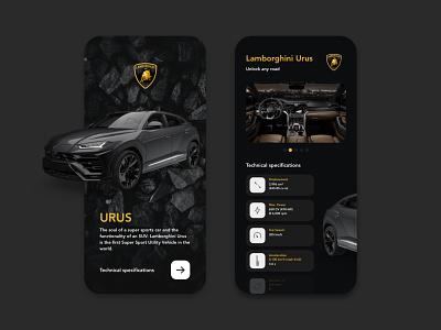Lamborghini Urus shop dark dark ui luxury urus lamborghini car buttons web design icon mobile vector app illustration branding design logo graphic design digital design ui