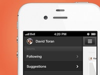 Dribbble App Design - menu open screen shots mobile iphone fresh follow clean app design dribbble