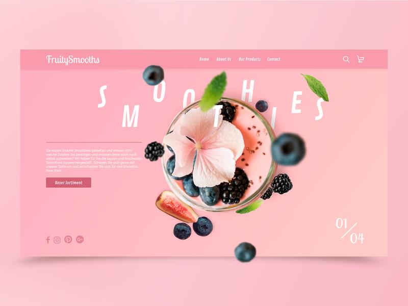 Tasty Smoothies !!! adobe xd landing page prototype adobexd website web design ux ui smoothie design smoothies