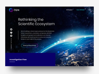 OSN Landing Page social network platform blockchain science landing page