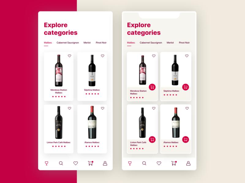 Wine App Categories feed app winery ui design platform icon design mobile app wine app wine categories