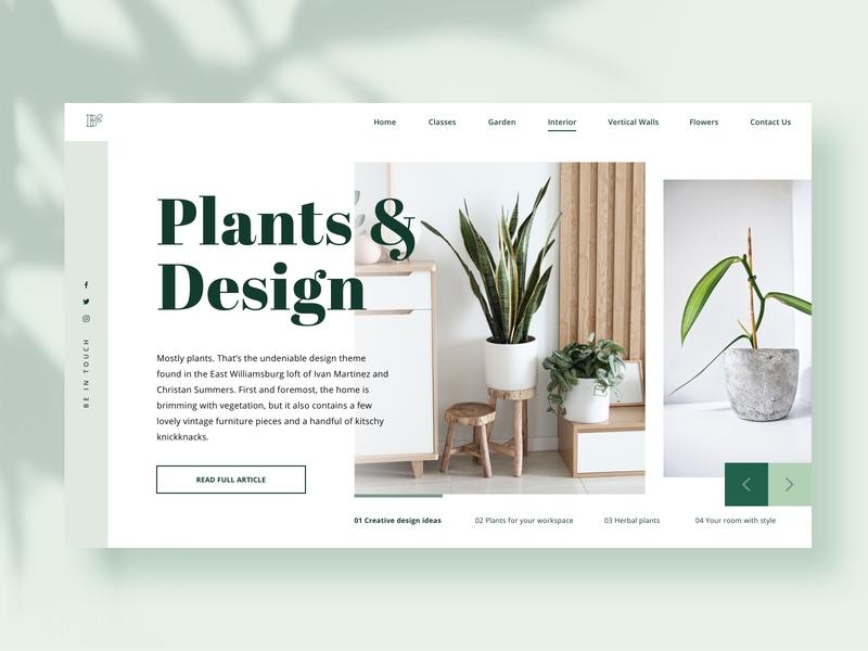 Plants & Interior Design decoration interior design botanical plants botany uiux ui design website design website platform