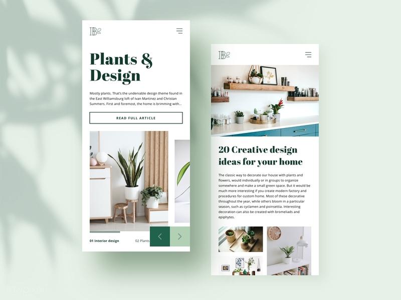 Plants & Interior Design - Responsive gallery decoration interior design botanical botany plants web mobile design mobile app platform ui design uiux webdesign website responsive design