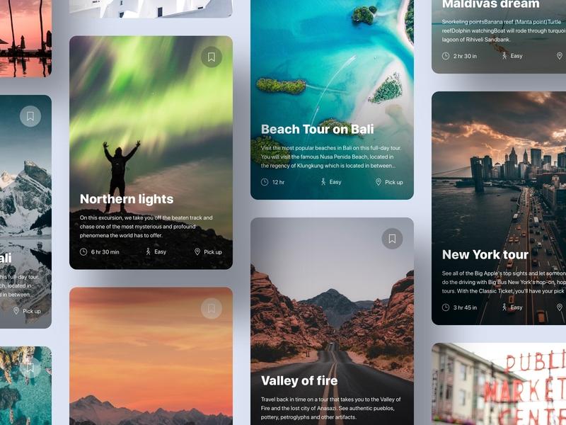 Excursions cards excursion platform mobile app web design webdesign ui design app grid ui cards cards travel