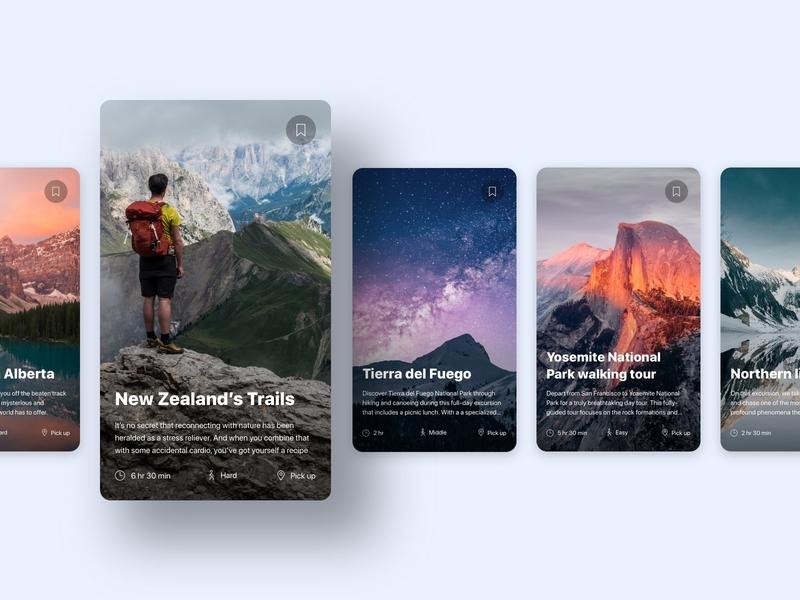 Travel Cards platform mobile design app web design ui design tour excursion cards travel