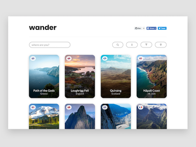 Wander earth world beautiful photography grid collection landing page website wander travel