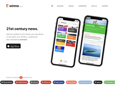 Winno news app landing page media posts discussion thread blog content feed journalism news app landing page ios