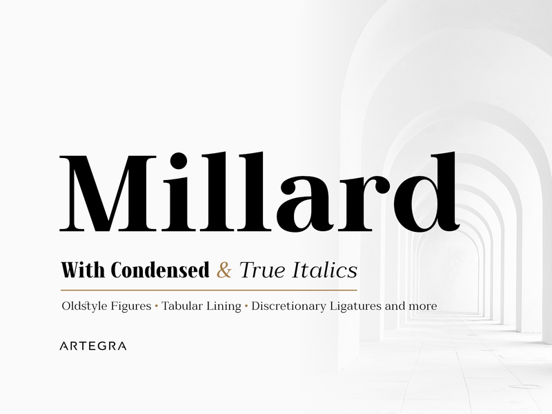 Millard - Font Family graphic design graphic condensed opentype cursive classic italic book text advertisement branding typography type poster poster type design typeface type fonts font serif