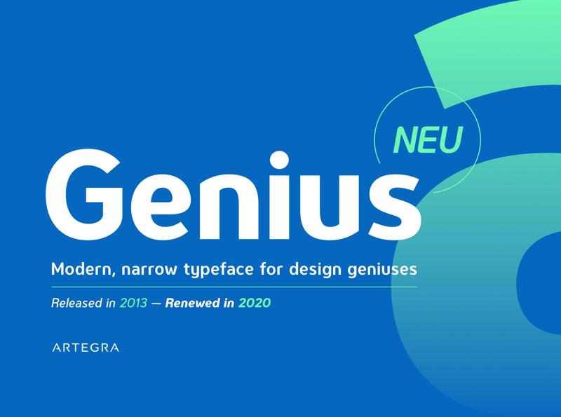 Genius - Font Family font family branding logo magazine book ads ad advertisement poster narrow modern sans serif type design typeface type fonts font sansserif sans