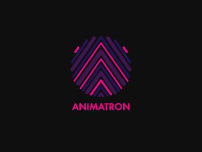Logo Dribbble neon circle lines strokes purple dark logo sign