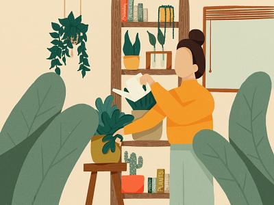 Thriving plants digital art happiness plant illustration texture character design illustration