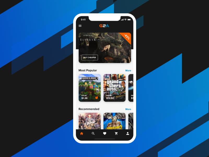 G2A App Design ui mobile app design mobile design app design games phone mobile design app graphic design borderlands 2 overwatch gta5 minecraft game video games g2a