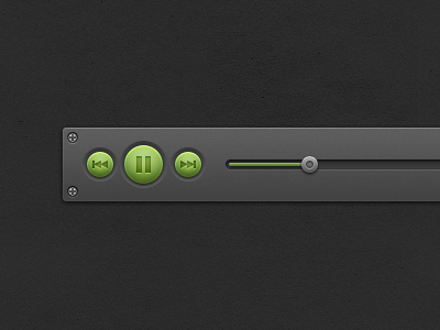 Music Controls ui interface elements music pause forward back green dark