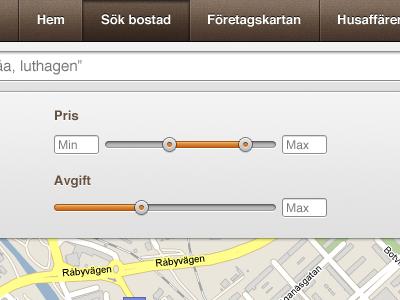 Real Estate listings controls slider real estate populate orange brown map controls ui interface gui web app
