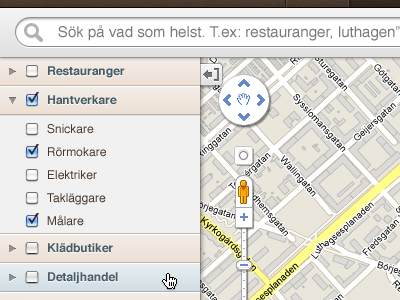 Search local businesses app web gui interface ui controls map brown orange populate real estate slider