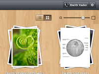 Files wooden management project ui interface gui web app webapp wood gloss files thumbnails stacks slider toggle texture paper