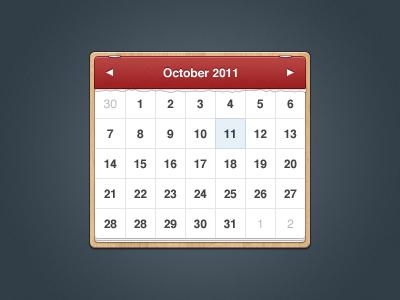 Calendar calendar cal ical ui user interface gui wood wooden red blue paper date picker texture time datepicker