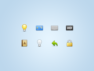 Just a few more... 32px stock icons contact contacts creditcard ui icon icons stock interface set iconset 32px 32 light bulb lightbulb credit card visa keyboard hd address book reply lock padlock power