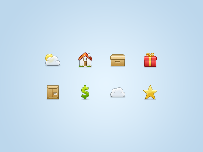 Again, icons 32 32px iconset set interface stock icons icon ui cloud sun house home gift present box cardboard parcel package dollar