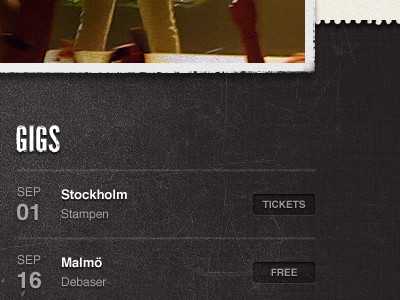 Gig listings band music texture ui grunge website
