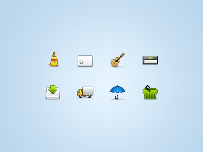 32px icons... again... small px ui icon icons stock set iconset 32px 32 broom clean key keyboard guitar instrument ukulele music synth piano synthesizer drive download truck delivery umbrella rain shopping cart basket