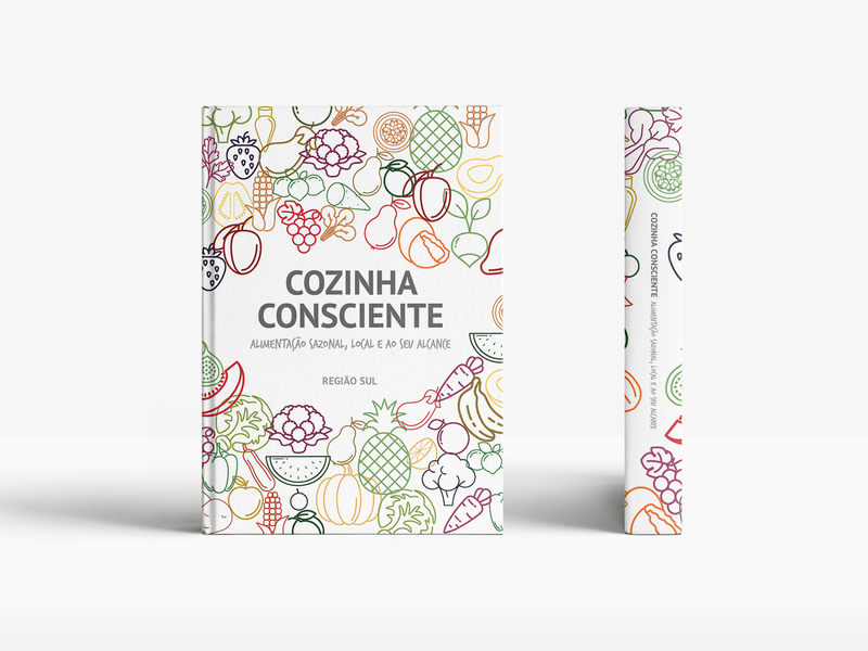 Cozinha Consciente print design editorial design print book flat icons sustainability seasonal food seasonal eating recipes cookbook