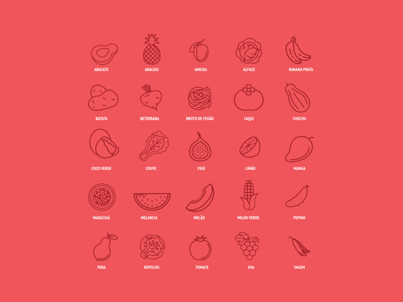 Summer Fruits & Vegetables Icon Set summer recipes cookbook book recipe cooking portuguese brazil vegetable fruits iconography icons pack iconset icons