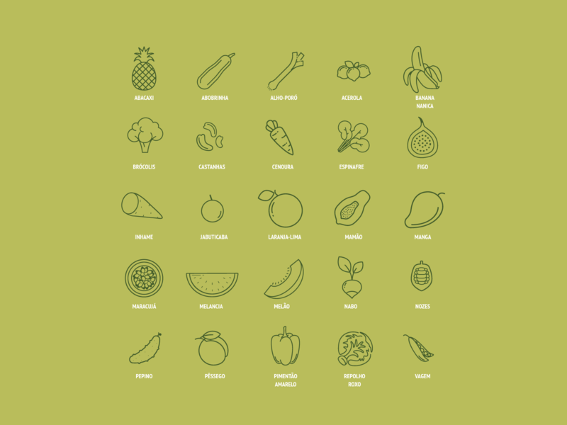 Spring Fruits & Vegetables Icon Set print design book spring seasonal seasons recipes cookbook food vegetables fruits cooking iconography icon pack iconset icons