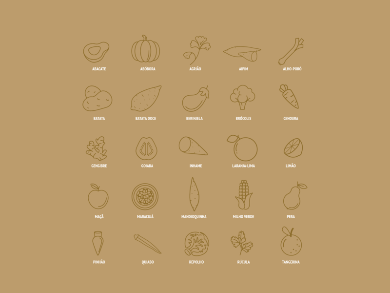 Autumn Fruits & Vegetables Icon Set print design flat icon flat portuguese brazil brasil eating seasonal seasons icon pack iconography iconset icons vegetable fruits recipes cookbook food fall autumn