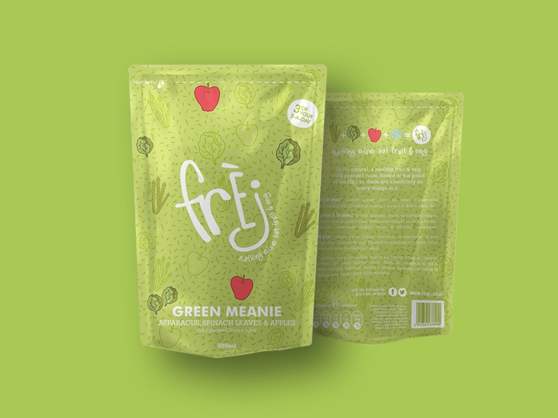 Frèj patterns illustration drinks plastic bag package vibrant fun logo frozen vegetables fruits pattern packaging brand juice