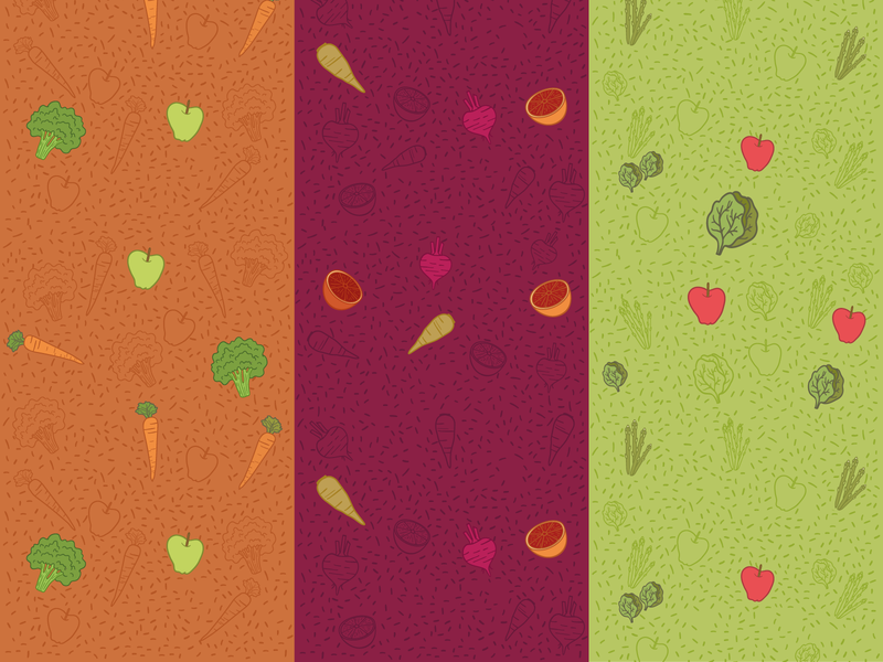 Frèj Packaging Pattern print packaging design burgundy green orange juice frozen happy childish illustration vibrant fun colourful vegetanles fruits pattern packaging