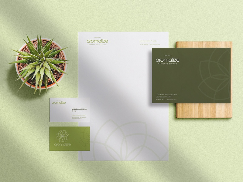 Aromatize Brand Stationery print design brand identity marketing scents parfum perfume envelope icon flat flower plants natural stationery green logo branding brand